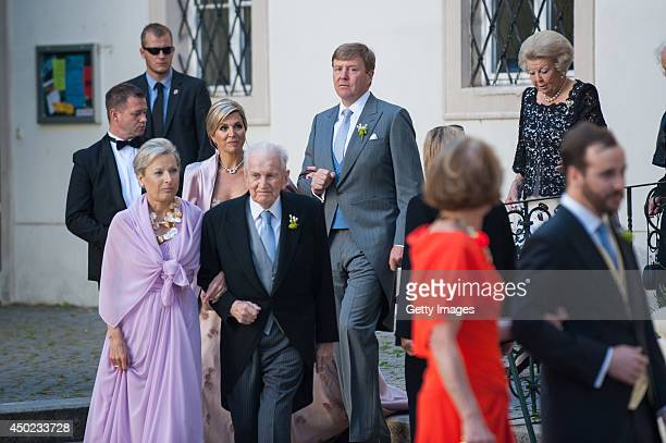 Queen Maxima of The Netherlands King WillemAlexander Princess Beatrix of The Netherlands and guests attend Juan Zorreguieta and Andrea Wolf's wedding...