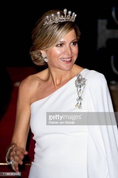 Queen Maxima of The Netherlands leave the Royal Palace after the annual gala diner for the Diplomatic Corps on April 09 2019 in Amsterdam Netherlands