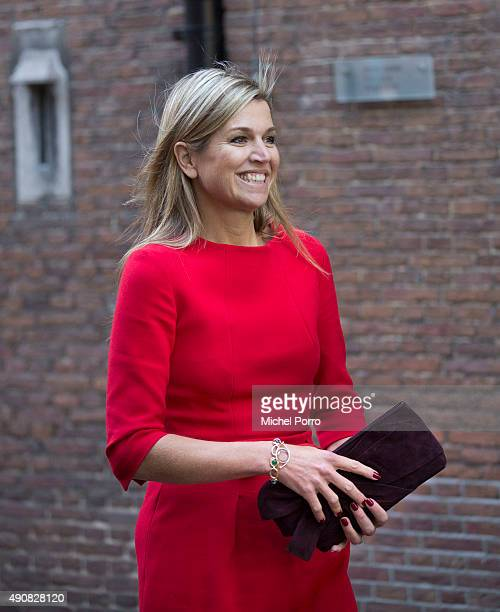 Queen Maxima of The Netherlands leaves after attending the symposium 'China in The Netherlands' on October 1 2015 in Leiden Netherlands