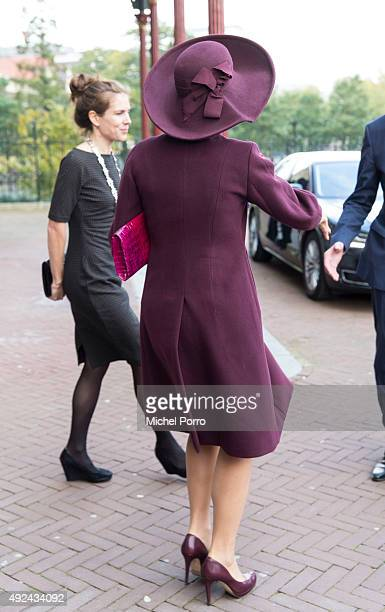 Queen Maxima of The Netherlands leaves after opening the 10th International Hands On Conference on children's education in museums at the Rijksmuseum...