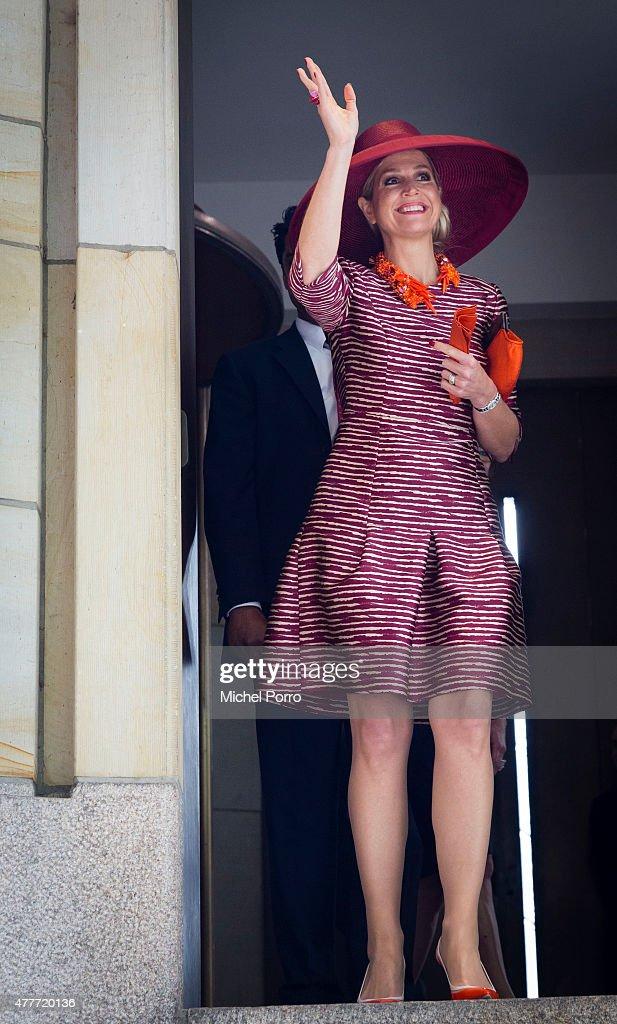 Queen Maxima of The Netherlands leaves after opening the Design Derby Netherlands - Belgium at the Museum Boijmans van Beuningen on June 19, 2015 in Rotterdam Netherlands.
