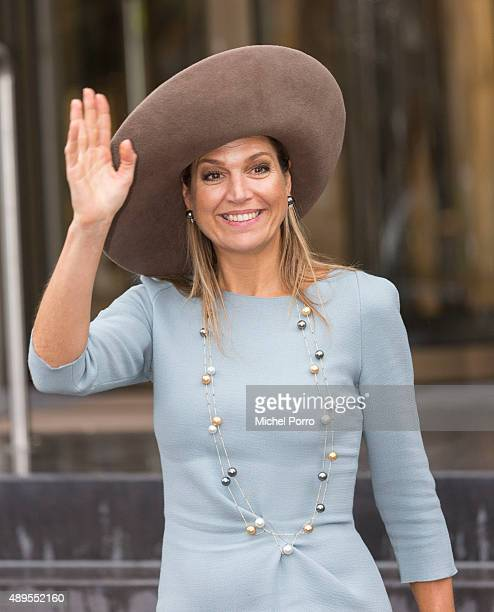 Queen Maxima of The Netherlands leaves after opening the new visitor center of the Netherlands Bank on September 22 2015 in Amsterdam Netherlands