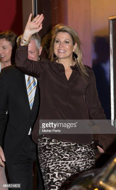 Queen Maxima of The Netherlands leaves the Archipel elementary school after an evening with parents discussing financial education on April 14, 2014...
