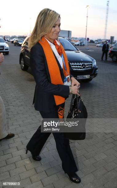 Queen Maxima of the Netherlands leaves the Arena after attending the Men's Speed Skating 5000m during day 1 of the Sochi 2014 Winter Olympics at...