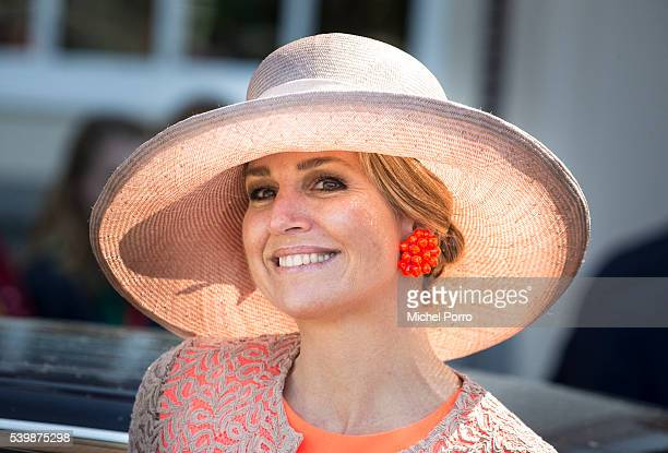 Queen Maxima of The Netherlands leaves the mayor's office during her regional tour of north west Friesland province on June 4 2016 in Harlingen,...