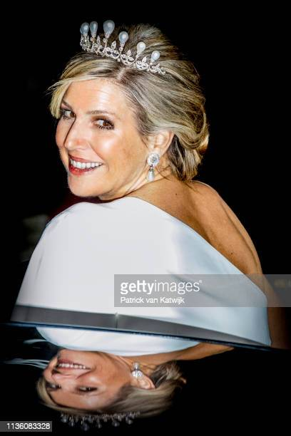 Queen Maxima of The Netherlands leaves the Royal Palace after the annual gala diner for the Diplomatic Corps on April 09, 2019 in Amsterdam,...