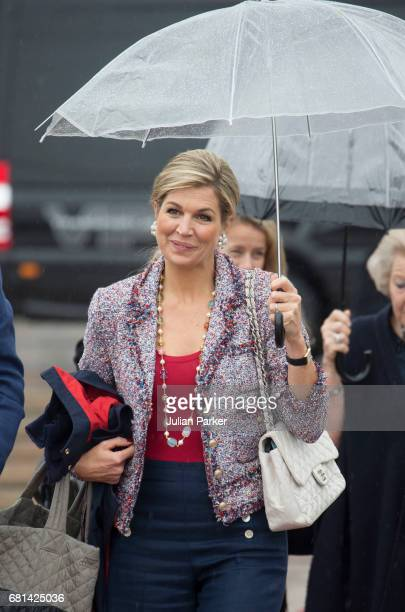 Queen Maxima of the Netherlands leaves to attend a lunch on the Norwegian Royal Yacht 'Norge' as part of the celebrations of the 80th Birthdays of...