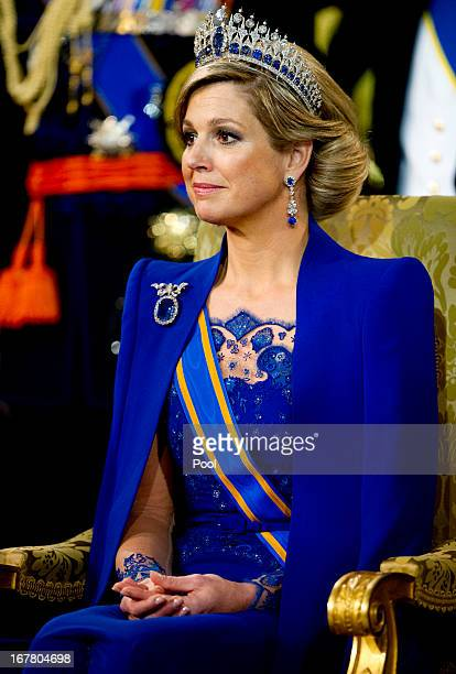 Queen Maxima of the Netherlands looks on during the inauguration ceremony at New Church on April 30 2013 in Amsterdam Netherlands