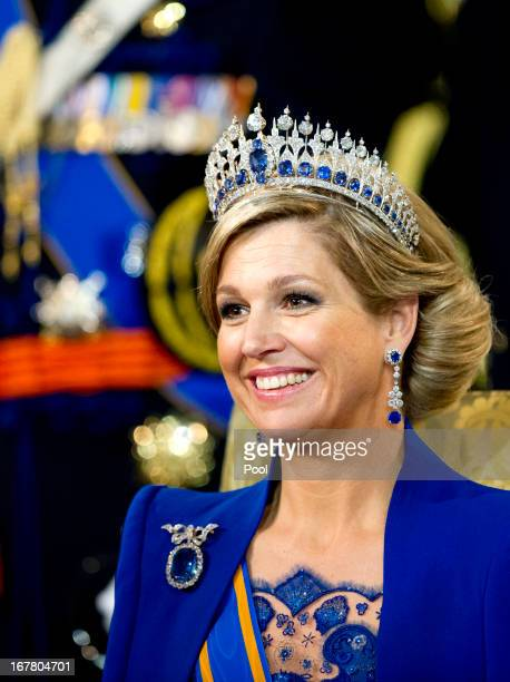 Queen Maxima of the Netherlands looks on during the inauguration ceremony at New Church on April 30, 2013 in Amsterdam, Netherlands.