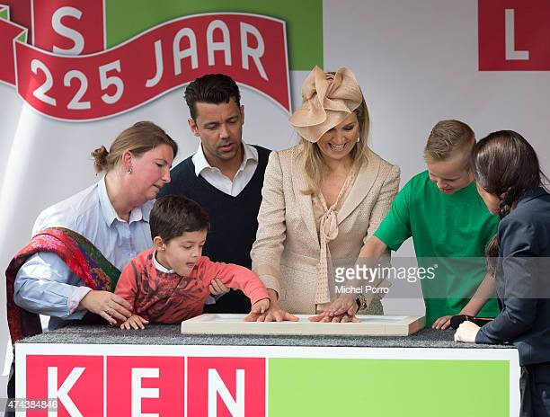 Queen Maxima of The Netherlands makes a hand print in plaster to open the new Koninklijke Kentalis diagnostic care education centre for people with a...