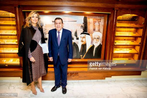 Queen Maxima of The Netherlands meets Dr Ziad Fariz of the Central Bank on February 12 2019 in Amman Jordan
