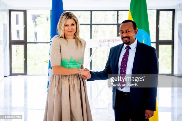 Queen Maxima of The Netherlands meets Prime Minister Abiy Ahmed of Ethiopia during her visit in her role with UN on May 15, 2019 in Addis Ababa,...