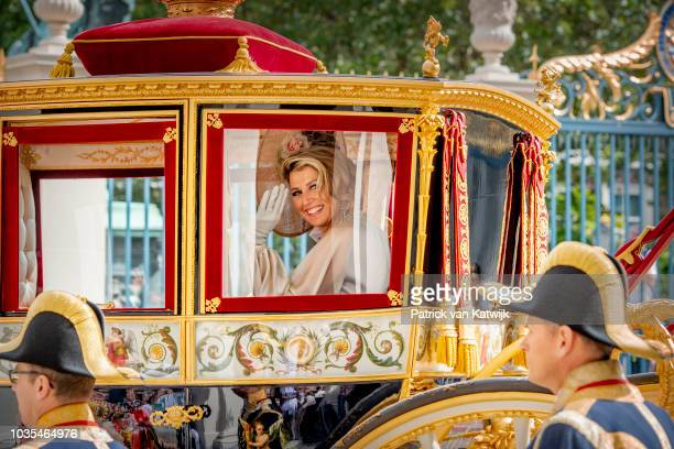 Queen Maxima of The Netherlands of The Netherlands at Palace Noordeine for the annual opening of the Parliamental year Prinsjesdag on September 18...