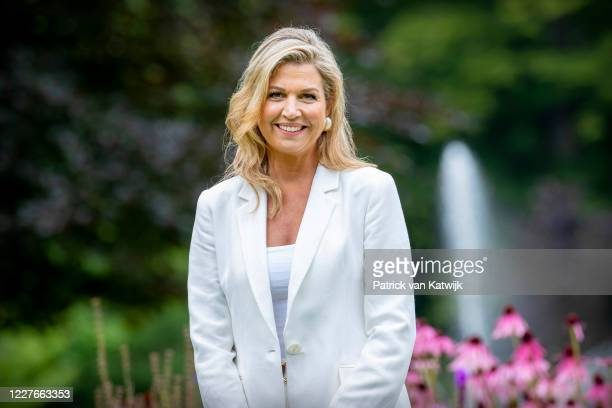 Queen Maxima of The Netherlands of The Netherlands during the annual summer photocall at their residence Palace Huis ten Bosch on July 17, 2020 in...