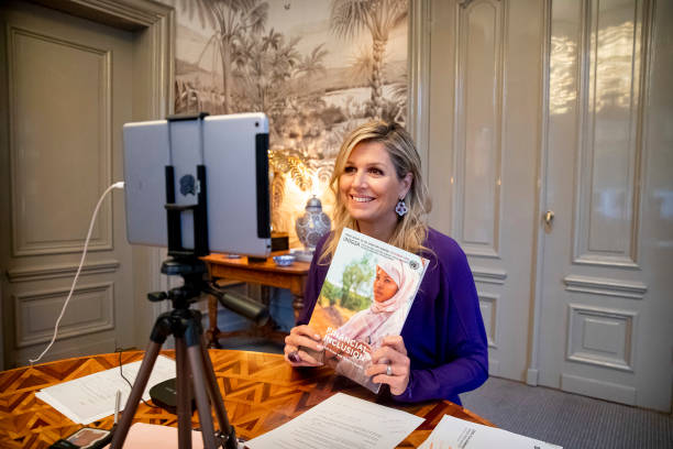 NLD: Queen Maxima Of The Netherlands  Presents UN Annual Report On Inclusive Finance Online In Palace Huis ten Bosch Palace