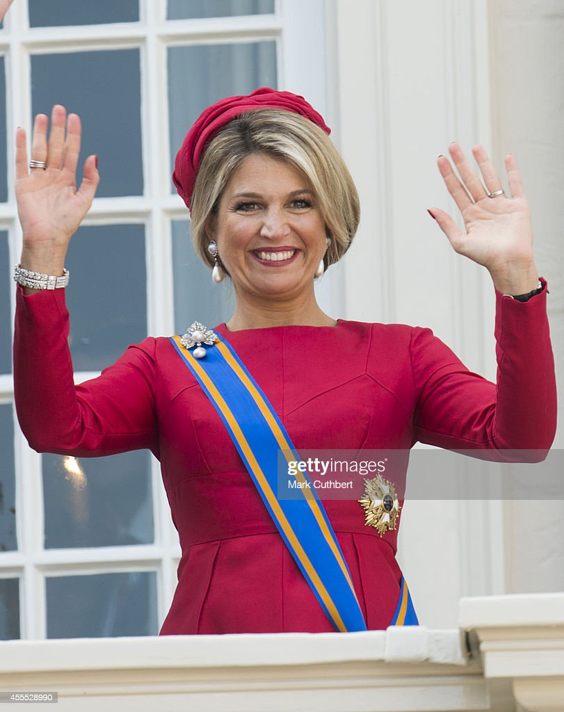 Queen Maxima of the Netherlands on the balcony of The Noordeinde Palace during Princes day celebrations on September 16, 2014 in The Hague, Netherlands.