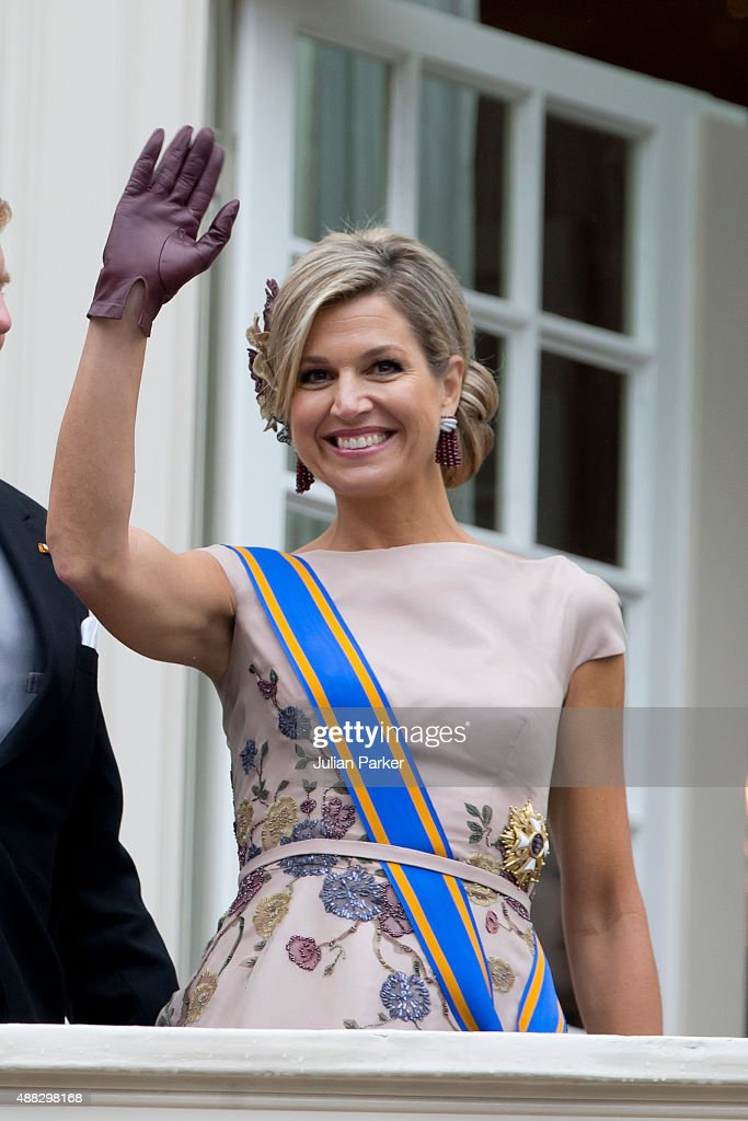 Queen Maxima of The Netherlands on the balcony of The Noordeinde Palace during Prinsjesdag (Prince's Day) on September 15, 2015 in The Hague, Netherlands.