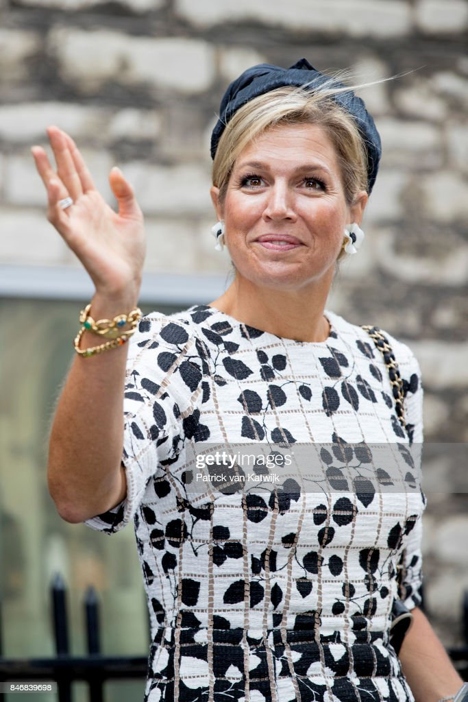 Queen Maxima of The Netherlands opens the Asian Library of the University Leiden on September 14, 2017 in Leiden, Netherlands. The Asian Library has 30km of research and education material about Asia including prints, books, manuscripts and photographs.