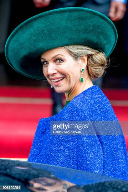 Queen Maxima of The Netherlands opens the bio Fair on January 17 2018 in Zwolle Netherlands