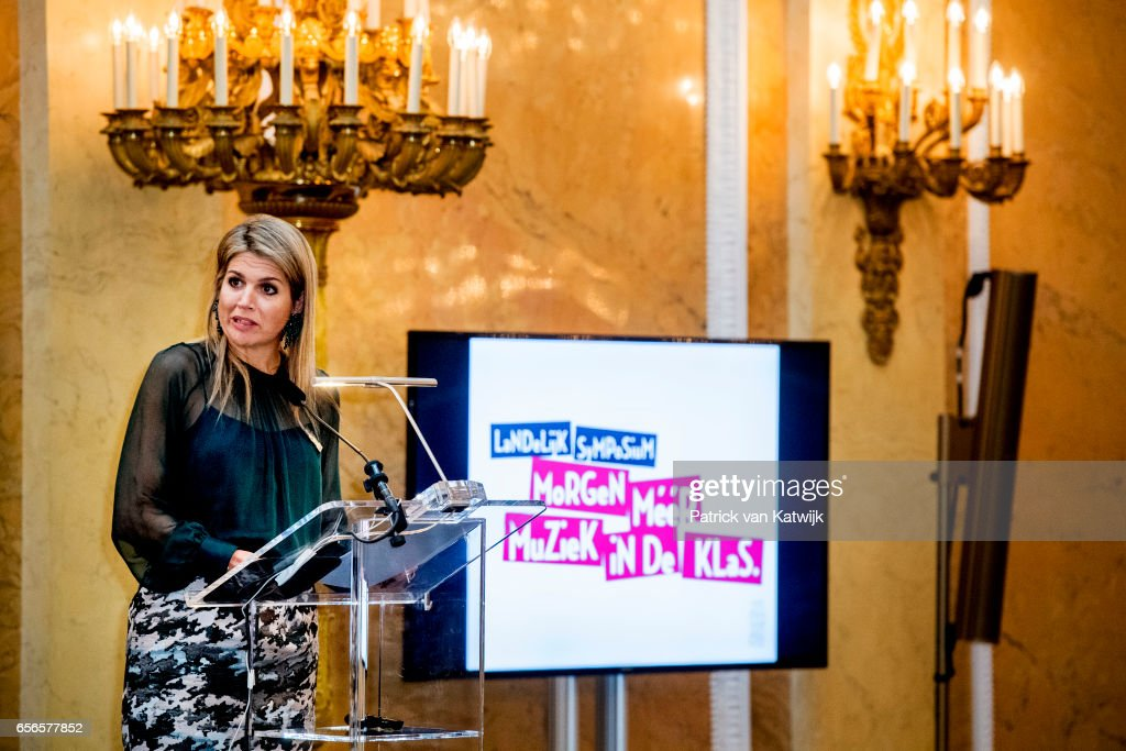 Queen Maxima opens music symposium in Palace Noordeinde in The Hague - 22 march 2017 : Nyhetsfoto