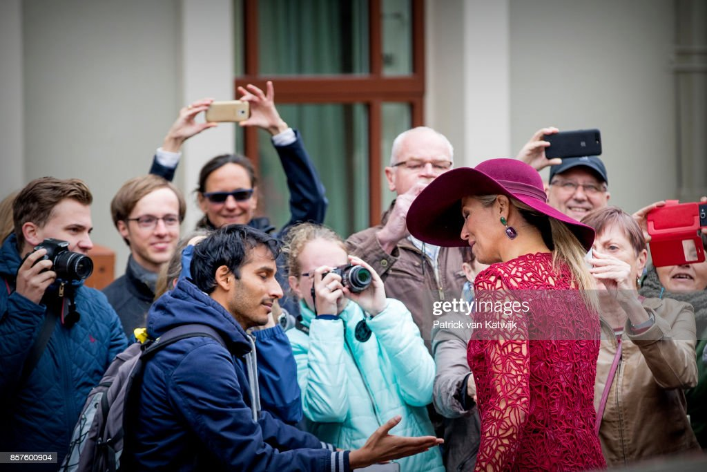 Queen Maxima of The Netherlands opens the travelling exhibition 'Ten Top Pieces On Tour' in the Mauritshuis museum on October 4, 2017 in The Hague, Netherlands.