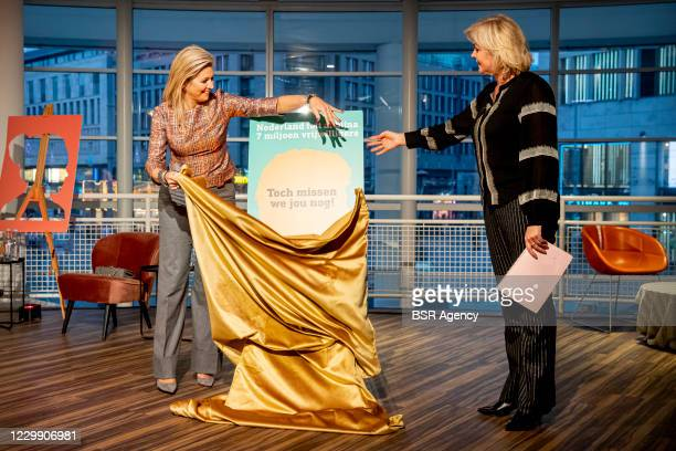 Queen Maxima of The Netherlands opens the year of volunteering 2021 in the central Library on December 2, 2020 in The Hague, Netherlands.