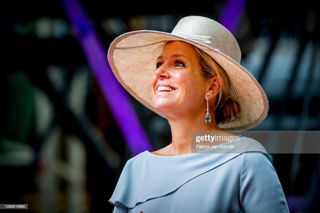 Queen Maxima of The Netherlands opens theater de Blauwe Kei at industrial heritage complex CHV Noordkade on September 10, 2018 in Veghel, Netherlands.