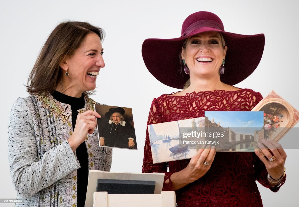 Queen Maxima of The Netherlands opens with director Emilie Gordenker the travelling exhibition 'Ten Top Pieces On Tour' in the Mauritshuis museum on October 4, 2017 in The Hague, Netherlands.