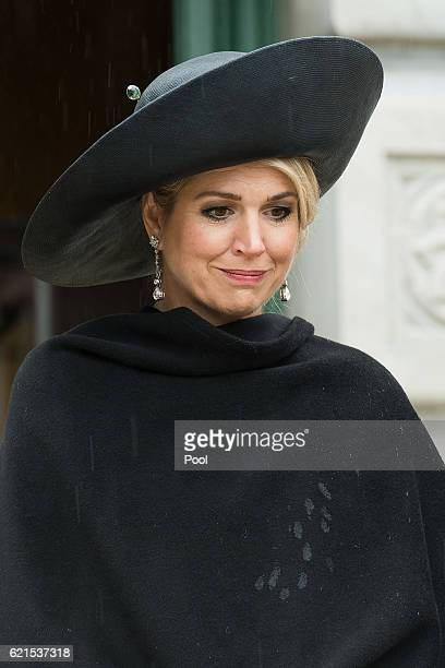 Queen Maxima of the Netherlands pays her respect after laying a fern on the Tomb of the Unkown Warrior at the National War Memorial on November 7...