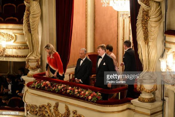 Queen Maxima of The Netherlands Portuguese president MArcelo Rebelo de Sousa and King WillemAlexander of The Netherlands attend a concert at Teatro...