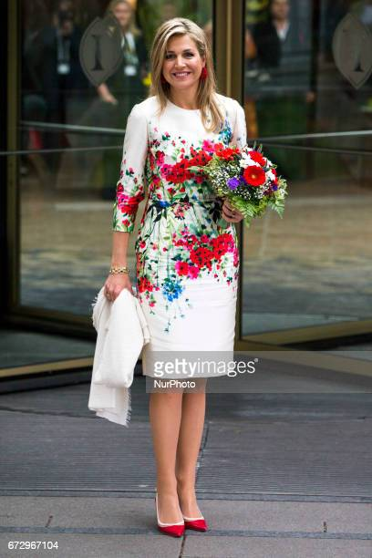 Queen Maxima of the Netherlands poses for a picture upon her arrival at the Woman 20 Summit in Berlin, Germany on April 25, 2017. The event, which is...