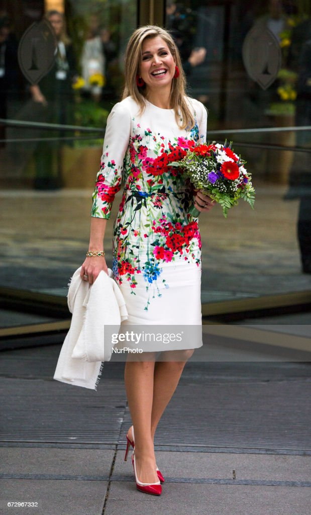 Queen Maxima of the Netherlands poses for a picture upon her arrival at the Woman 20 Summit in Berlin, Germany on April 25, 2017. The event, which is connected to the G20 under the German leadership is dedicated to Women's Economic Empowerment and Entrepreneurship.