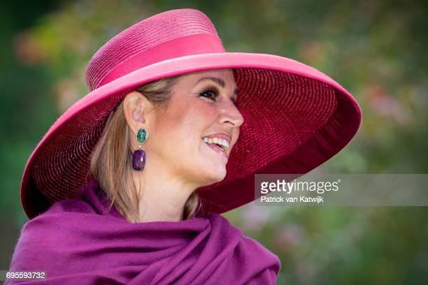 Queen Maxima of The Netherlands presents a new rose during the Dutch Rose Association's National Symposium in the Rosarium on June 13 2017 in...