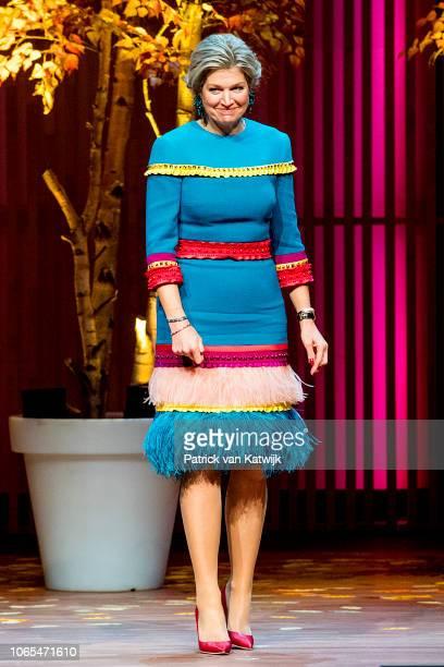 Queen Maxima of The Netherlands presents the Prince Bernhard Culture Foundation award to composer Reinbert de Leeuw in the Muziekgebouw Aan't IJ on...