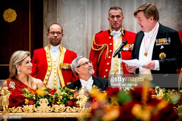Queen Maxima of The Netherlands President of Cape Verde Jorge Carlos de Almeida Fonseca and King WillemAlexander of The Netherlands during an state...
