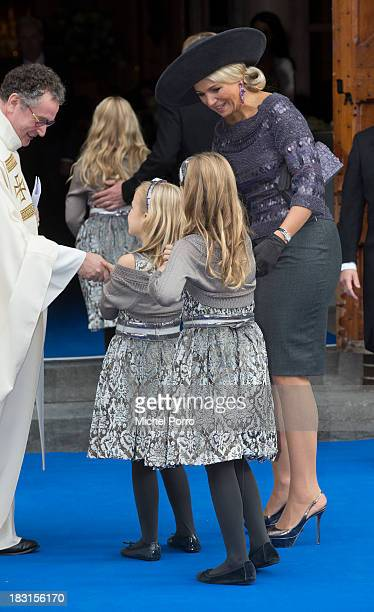 Queen Maxima of The Netherlands, Princess Ariane of The Netherlands and Princess Alexia of The Netherlands attend the wedding of Prince Jaime de...