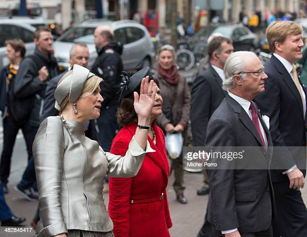Queen Maxima of The Netherlands Queen Silvia of Sweden King Carl XVI Gustaf Of Sweden King WillemAlexander of The Netherlands walk at the start of an...