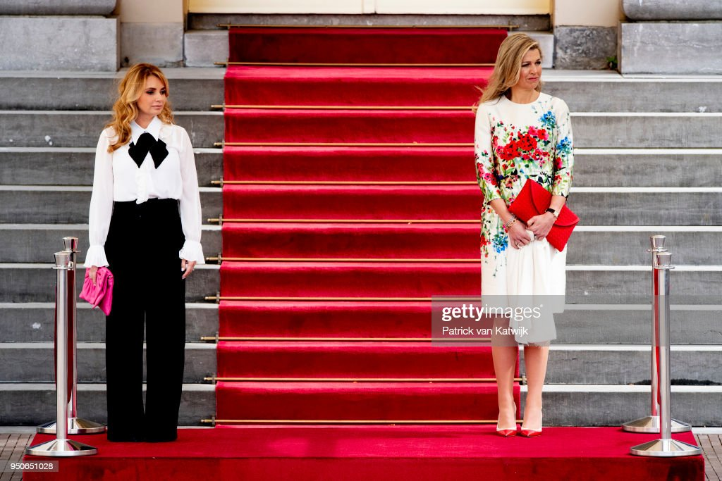 Queen Maxima of The Netherlands receive Angelica Rivera de Pena of Mexico on April 24, 2018 in The Hague, Netherlands.