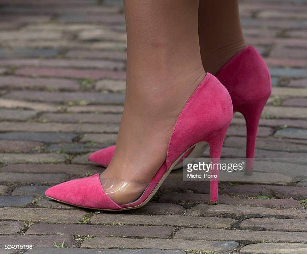 Queen Maxima of The Netherlands shoe detail during celebrations marking the 49th birthday of the King on King's Day on April 27 2016 in Zwolle...