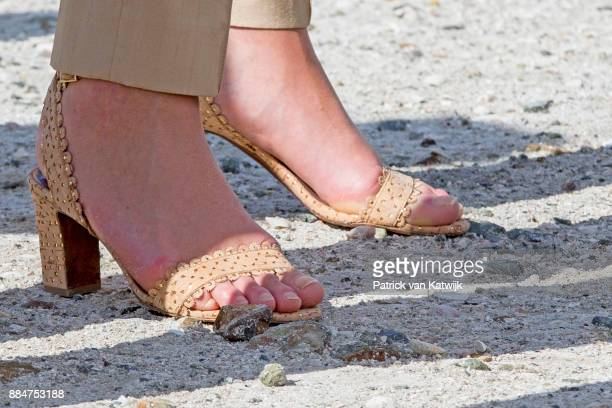 Queen Maxima of The Netherlands, shoe detail, visits reconstruction projects and damaged areas in Sint Maarten after the destruction of hurricane...
