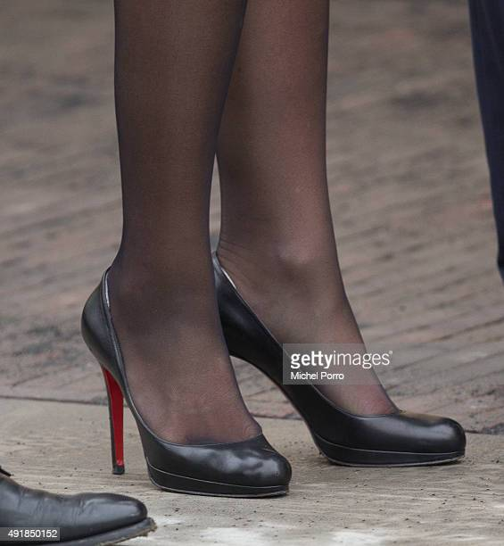 Queen Maxima of The Netherlands shoe detail visits the former mining region on October 8 2015 in Kerkrade Netherlands The region this year celebrates...