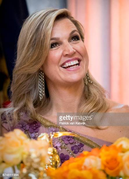 Queen Maxima of The Netherlands smiles during a dinner for 150 Dutch people to celebrate King WillemAlexander of the Netherlands' 50th birthday in...