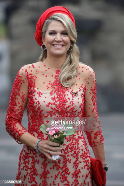 Queen Maxima of The Netherlands smiles upon her arrival at the Porta Nigra, a magnificent 2nd-century Roman city gate, on October 11, 2018 in Trier,...
