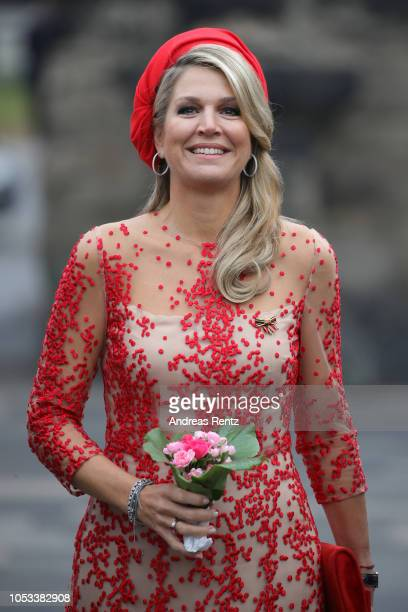 Queen Maxima of The Netherlands smiles upon her arrival at the Porta Nigra a magnificent 2ndcentury Roman city gate on October 11 2018 in Trier...