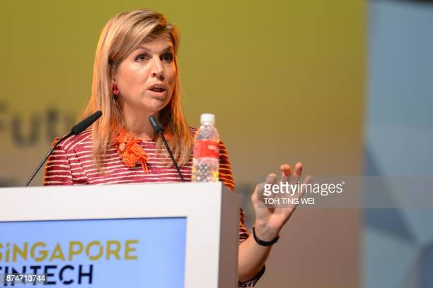 Queen Maxima of The Netherlands speaks at the FinTech Festival in Singapore on November 16 2017 An international financier by training the Queen was...