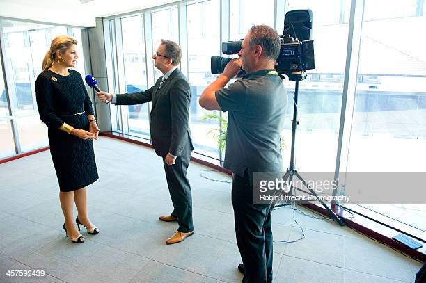Queen Maxima of the Netherlands speaks to the media at the Launch of the National Inclusive Finance Framework and UNSGSA signing of inauguration...