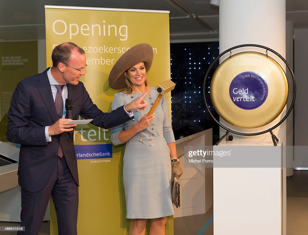 Queen Maxima of The Netherlands stands next to Netherlands Bank President before opening the new visitor center of the Netherlands Bank on September 22, 2015 in Amsterdam, Netherlands