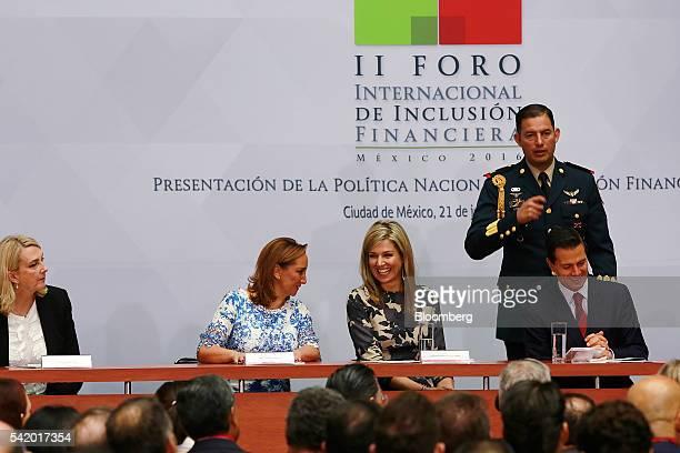 Queen Maxima of the Netherlands UN secretary generals special advocate for inclusive finance for development center Enrique Pena Nieto Mexico's...