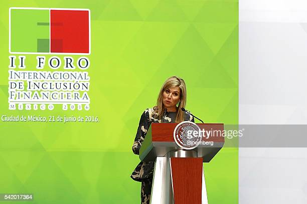 Queen Maxima of the Netherlands UN secretary generals special advocate for inclusive finance for development speaks during a financial inclusion...