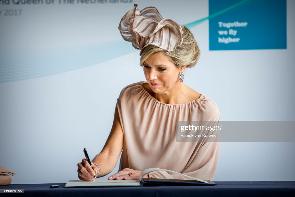Queen Maxima of The Netherlands visit OGMA in Alverca on October 12, 2017 in Sintra, Portugal. OGMA Industria Aeronautica de Portugal is specialized in components production, maintenance and repair of airplanes.